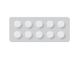 package with tablets medicines mock up vector template