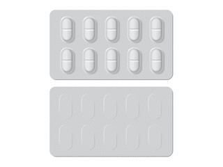 packs with different tablets medicines mock up vector template