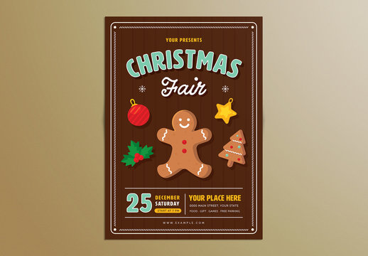 Christmas Fair Flyer with Gingerbread Man Illustrations