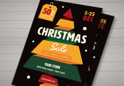 Christmas Sale Flyer with Colorful Ribbon Tree and Sale Tag