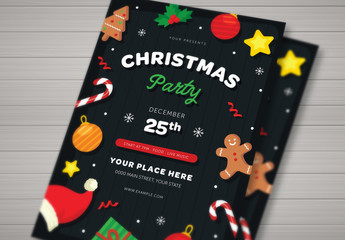 Christmas Party Flyer with Festive Vector Illustrations
