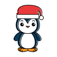 cute penguin with christmas hat kawaii