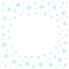 Festive frame with snowflakes on a white background. For posters, postcards, greeting for Christmas, new year.