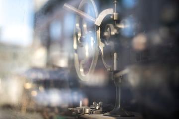 Old machine behind window
