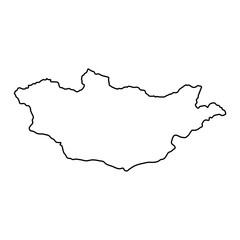Mongolia map of black contour curves on white background of vector illustration