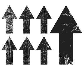 Set of black grunge texture arrrows