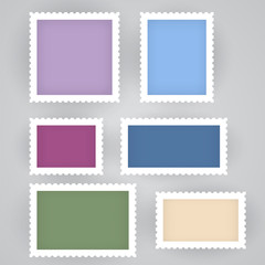 Post stamps frame, philately mock up vector set, vintage mail mark templates. Empty space with perforated border of different size.