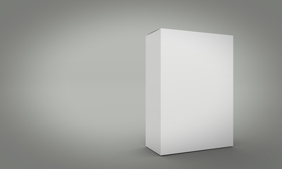 Blank box on gray background. 3d render