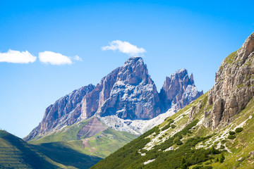 Wall Mural - Blue sky on Dolomiti Mountains in Italy