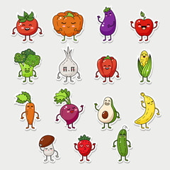 Vector fruit and vegetable character set, funny food icon with emotions face.