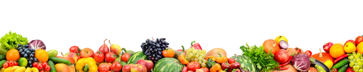 Panoramic collection fresh fruits and vegetables isolated on white