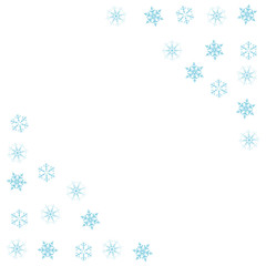 Festive decorative frame made of snowflakes on a white background. For posters, postcards, greeting for Christmas, new year.