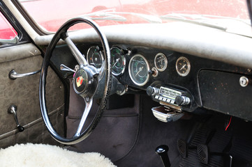 The interior of the old car.