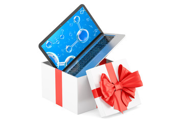 Gift box with laptop, 3D rendering