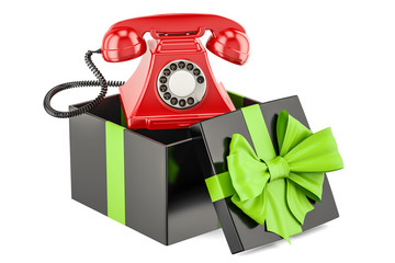 Gift box with telephone, 3D rendering