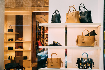 Fashion Accessories In Shop Window Showcase Of Store Mall Market