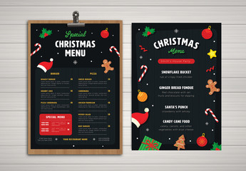 Christmas Menu with Festive Illustrations
