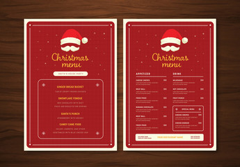 Christmas Menu with Santa Hat and Moustache Illustration