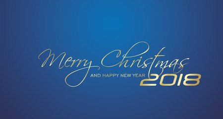 Merry Christmas and Happy New Year 2018 gold blue greeting card