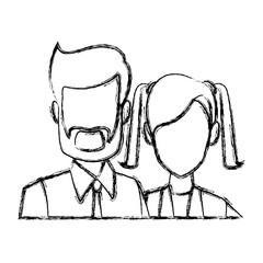 Business couple teamwork icon vector illustration graphic design