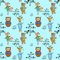 watercolor woodland animals in sweaters pattern on blue background