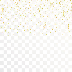 Golden Confetti And gold Ribbons on transparent background. Vector