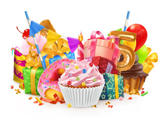 Happy holiday. Cupcake, gift box. 3d vector illustration