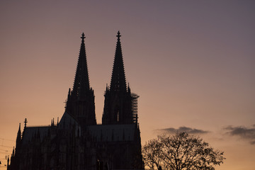 silhouette of cologne dome, Germany