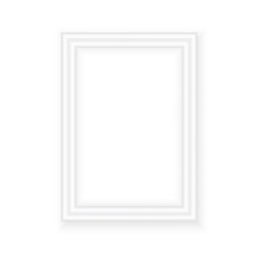 White picture frame. Landscape orientation. Minimalistic detailed photo realistic frame. Graphic design element for scrapbooking, art work presentation, web, flyers, posters. Vector illustration.