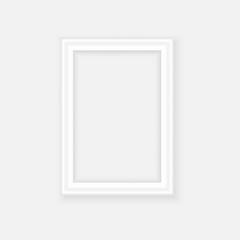 White picture frame. Landscape orientation. Minimalistic detailed photo realistic frame. Graphic design element for scrapbooking, art work presentation, web, flyers, posters. Vector illustration.