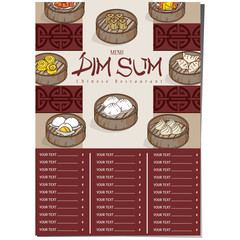 menu dim sum chinese food restaurant template design