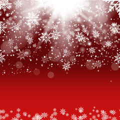 Christmas and New Year red background with falling gold snowflakes. Vector