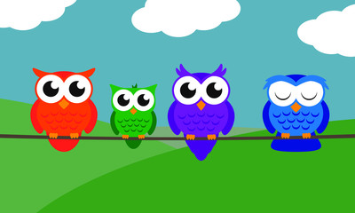 Illustrated Owl Family