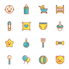 Baby Icons Minimalistic Flat Line Icon . Baby Symbol Set Collection