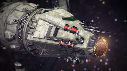 cargo Spaceship going through the space 3d illustration
