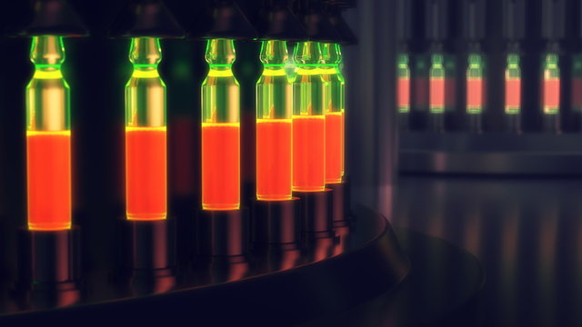 Pharmaceutical manufacturing line at pharmacy factory. 3d illustration