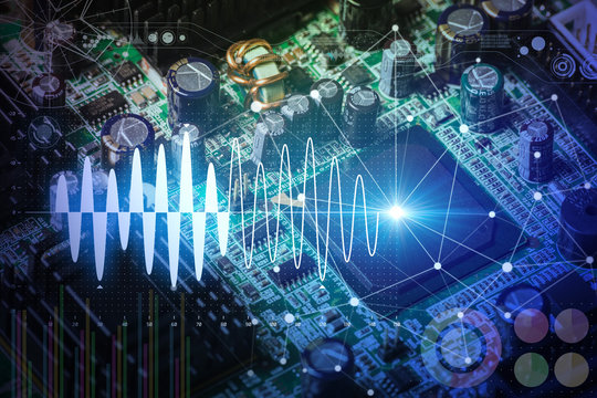 Electronic circuit board and digital information technology concept.