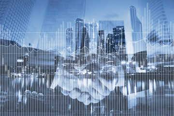interest rates concept, financial charts and graphs about investment on business double exposure background
