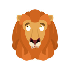 Lion confused emoji face avatar. Wild animal is perplexed emotions. Beast surprise. Vector illustration