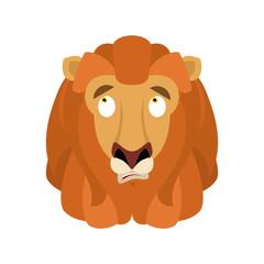 Lion confused emoji face avatar. Wild animal is perplexed emotions. Beast surprise. Vector illustration