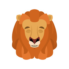 Lion sleeping emoji face avatar. Wild animal asleep emotions. Beast. Vector illustration