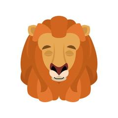 Lion sleeping emoji face avatar. Wild animal asleep emotions. Beast. Vector illustration