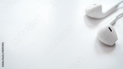 Wall mural earphone close up on white background