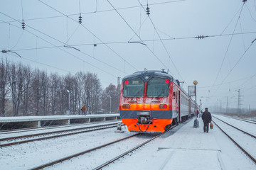 Train at the station in winter