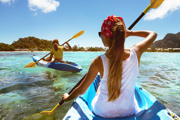Kayaking travel tropical sea beach