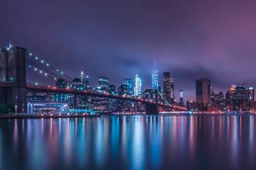 Deurstickers Rotterdam Brooklyn Bridge and 1WTC. Memorial Day 2017 NYC Skyline