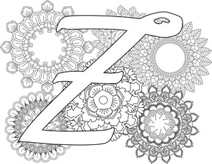 mandala-Z-monogramlogo-Doodle Floral Letters. Coloring Book For Adult. Mandala and Sunflower. ABC. Isolated Vector Elements. Capital Letter English Alphabet