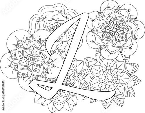 mandala l monogramlogo doodle floral letters coloring book for adult mandala and sunflower. Black Bedroom Furniture Sets. Home Design Ideas