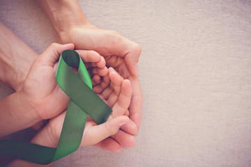 adult and child hands holding Green Ribbon, cancer awareness, Liver, Gallbladder Bile Duct cancer awareness, Hepatitis B awareness
