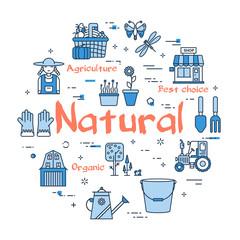 Blue round Natural Gardening concept